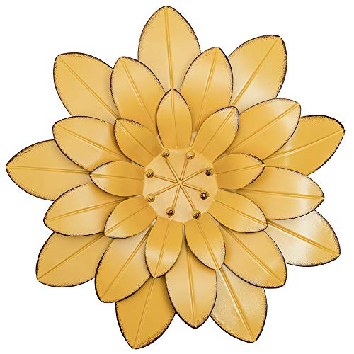 YEAHOME Metal Flower Wall Decor, 13inch Yellow Outdoor Decor Metal Wall Art Hanging for Bathroom, Bedroom, Living Room, Kitchen, Home Decor Boho Art for Backyard Decorations