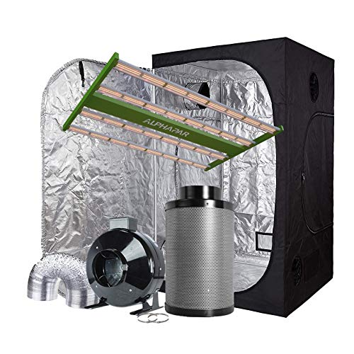 AlphaPar New Tech LED Grow Light APE2000 + 60''x60''x80'' 600D Mylar Grow Tent Room + 6'' Fan Filter Ventilation Kit Indoor Plant Grow Tent Complete Kit for Plant Growing