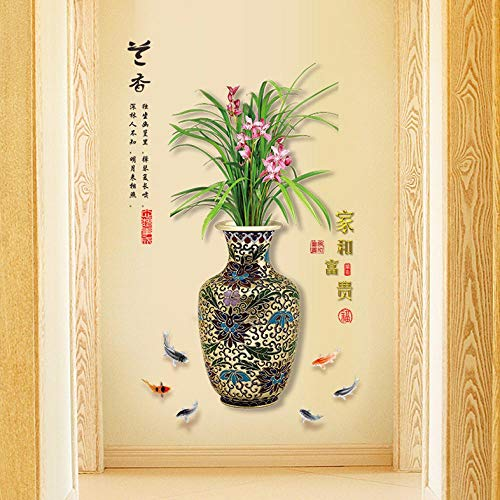 Muurstickers Chinese Stijl Retro Orchidee Vaas Slaapkamer Woonkamer Entree Decoratie Muurstickers