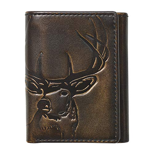 HOJ Co. DEER Trifold | Full Grain Leather With Hand Burnished Finish | Mens Trifold Wallet | Hunter Gift | Outdoors Wallet