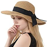 Womens Straw Hat Wide Brim Floppy Beach Cap, Bowknot&khaki, Size Medium