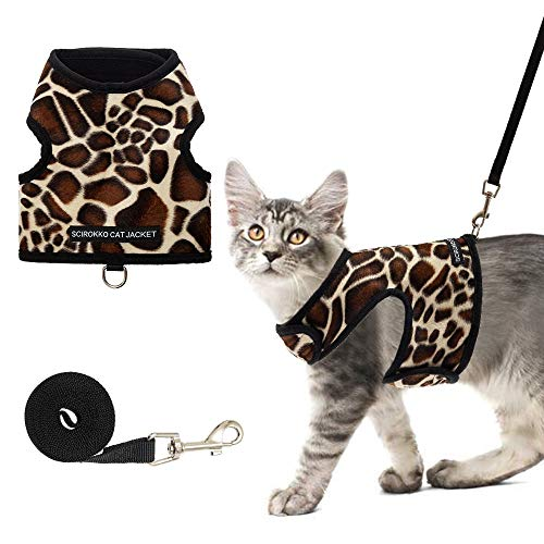 SCIROKKO Cat Harness and Leash Set - Escape Proof Adjustable for Outdoor Walking Jacket with Safety Buckle, Leopard Print