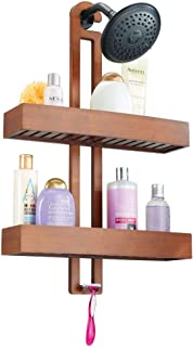 mDesign Wide Natural Bamboo Bathroom Tub & Shower Caddy, Hanging Storage Organizer Center with 2 Levels for Shampoo, Body Wash, Loofahs - Rust Resistant - Brown
