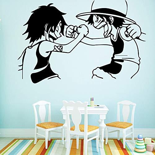 wZUN Personalizado Dibujos Animados Hermanos Autoadhesivo Vinilo Impermeable Etiqueta de la Pared jardín de Infantes decoración de la habitación decoración de la Pared 58x89cm
