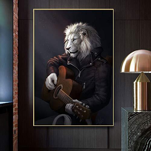 wZUN Lienzo Pintura música león Carteles e Impresiones Pintura Animal Guitarra Pared Artista decoración del hogar Sala de Estar decoración del Dormitorio 60x90 Sin Marco