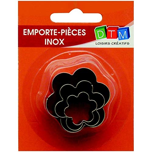 Graine Créative Lot de 3 minis emporte-pièces Fleurs en INOX Alimentaire, Diamètre 2,3,4 cm