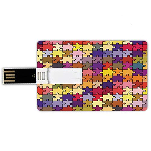 8G USB Flash Drives Forma de tarjeta de crédito Vintage Memory Stick Estilo de tarjeta bancaria Colorido Resumen Rompecabezas Retro Diversión Juguetón Equipo Ilustración decorativa, Púrpura Rojo Amari