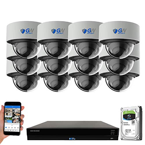GW 16 Channel 4K NVR 8MP (3840x2160) H.265+ Color Night Vision Smart AI Security Camera System - 12 x UltraHD 4K Human Detection PoE IP Microphone Dome Camera - 8MP (Two Times The Resolution of 4MP)