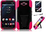 Motorola Droid Turbo XT1254 (Verizon), Luckiefind New Premium Hybrid Dual Layer Case with Stand, Stylus Pen & Screen Protector Accessory (Stand Pink)