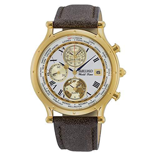 Seiko Herren Analog Quarz Uhr mit Leder Armband SPL060P1