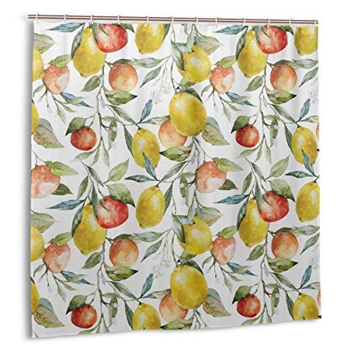 Impermeable Cortina de Ducha,Limón y Naranja Clementina Ramas de los árboles Fruta Deliciosa Temporada de Invierno Diseño de vitaminas,Impermeable y Opaco con 12 Ganchos