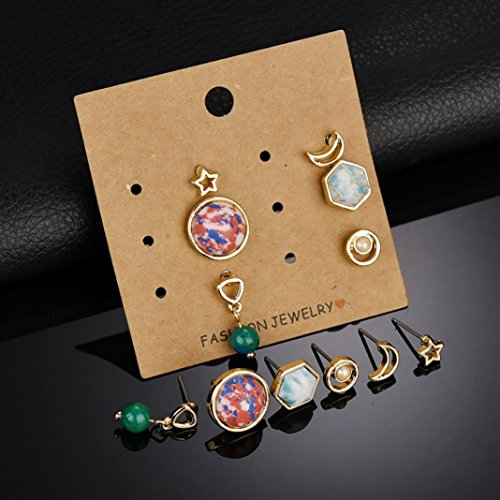 FEIDAjdzf 6 Paar Hohle Mond Stern runde geometrische Ohrringe Damen Modeschmuck – Goldfarben