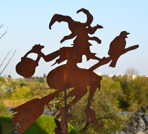 Gartenstecker Hexe mit Rabe, Kessel und Besen - Gesamthöhe ca. 120-125 cm -