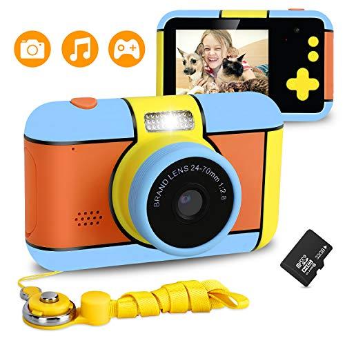Xddias Cámara para Niños, Infantil Cámara de Fotos Digital con 32GB Tarjeta de Memoria, 1080P HD Videocámaras Juguetes, 24 Megapíxeles, Pantalla de 2.4 Pulgadas, Niños y Niñas Cumpleaños Regalo