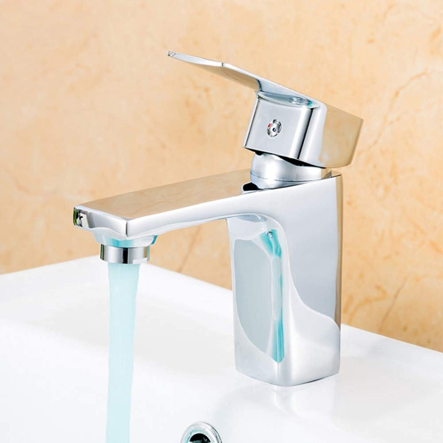 Ayhuir Basin Faucet Single Handle Bathroom Hot and Cold Water Mixer Taps Basin Faucet Kitchen Deck Mounted Chrome Basin Faucet