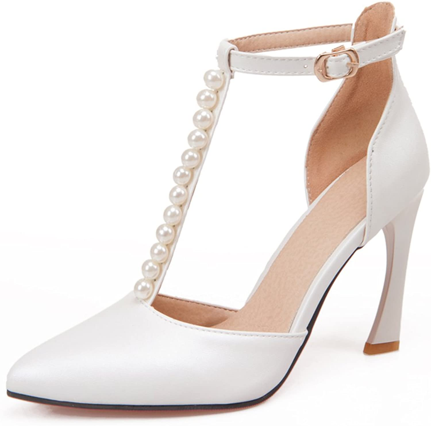 AIWEIYi Womens Pearl Chains Ankle Strap Pointed Toe High Heel Sandals White
