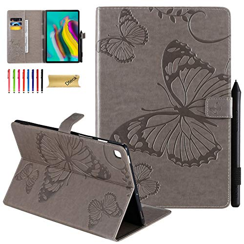 Dteck Case for Samsung Galaxy Tab S5e 10.5 2019 - Pretty Butterfly Premium Leather Folio Stand Shockproof Case with Auto Wake/Sleep Smart Cover for Galaxy Tab S5e 10.5 SM-T720/T725, Gray
