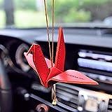DBDCH Coche Colgante Artesanía Origami Grullas de Papel Colgante Oración Bendición Paz Auto Espejo retrovisor Interno Decoración Adornos,Red