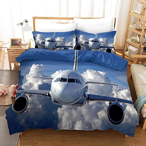 WEKUW Funda de Edredón Azul, Juego de Funda Aeronave 3D Impresa con Ropa de Cama Y Cierre de Cremallera para Niños, Niños, Adultos 260X240 cm