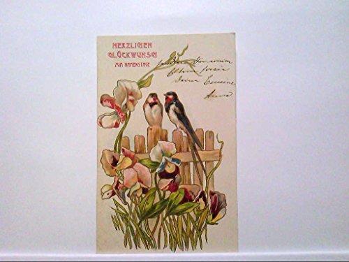 AK TOP Lithografie Jugendstil, Herzlichen Glückwunsch zum Namenstage, Vögel auf Zaun, Blumen, 1912, Gelaufen.