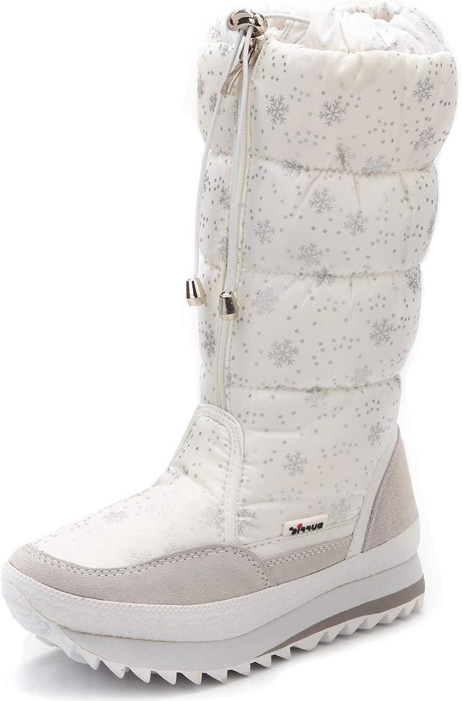 Orlancy Women's Mid Calf Snow Boots Zipper Platform Wedge Snowflake Winter Outdoor