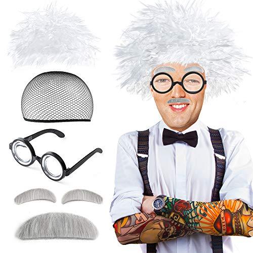 Beelittle Old Man Mad Scientist Set de pelucas Albert Einstien Ben Benjamin Franklin Disfraz de abuelo - Peluca, cejas, bigote, gafas de vestir (C)