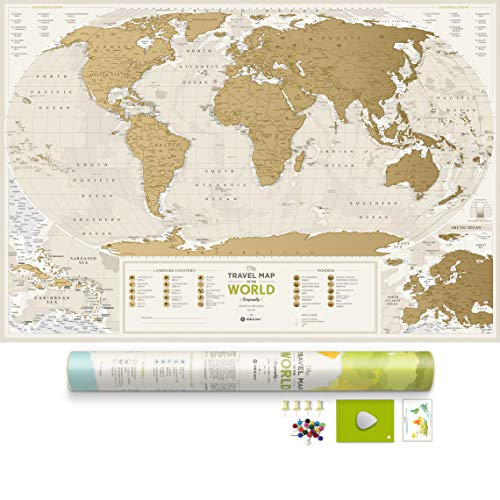 Detailed Scratch Off World Map with Push Pins - 34.6
