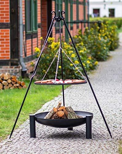 BlackOrange Ensemble brasero Bowl Ø 80 cm avec barbecue pivotant Ø 70 cm et trépied