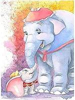 クロスステッチキット、動物の象11C大人の初心者のためのパターンスターターキット付きのアニメかわいいプリント刺繡、家の装飾とギフト用40×50cm