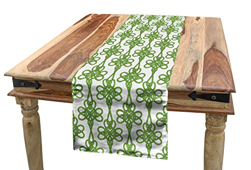 Lunarable Celtic Table Runner, St. Patrick's Day Theme Celtic Knots Lucky Clover Design Pattern Irish Theme Print, Dining Room Kitchen Rectangular Runner, 16' X 72', Green White