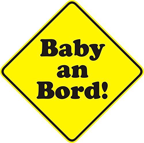 Auto-Aufkleber Baby an Bord neutral I 10 x 10 cm I Sticker für Scheibe I Hinweis-Aufkleber viereckig Raute wetterfest I kfz_105