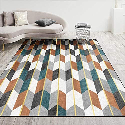 Alfombra moqueta Alfombra de Pelo Corto marrón Azul Gris Blanco diseño geométrico Abstracto Alfombra Salon Verano alfombras de habitacion Juvenil 100*160cm