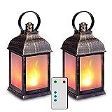 11' Vintage Style Decorative Lantern,Flame Effect LED Lantern,(Golden Brushed Black,Remote Control) Indoor Lanterns Decorative,Outdoor Hanging Lantern,Decorative Lanterns ZKEE (Set of 2)