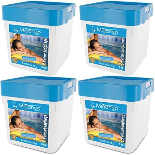 Miganeo® 4X 5kg Total Blue Tabs 20g 5in1 Multitabs chlor für Pool Schwimmbad Chlortabs Ph Minus Alegezid (20 kg)