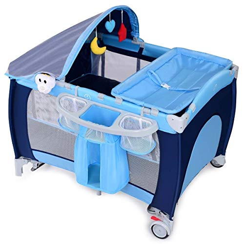 LHONE Portable Foldable Travel Baby Crib Playpen Baby 3 in One Crib Playpen Travel Playpen Changer w/Mosquito Net and Carring Bag (Blue)