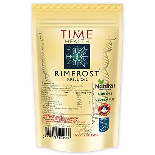 Huile de Krill Antarctique RIMFROST® de Marque Premium | Oméga-3 Ultra-Riche Incluant les Phospholipides DHA/EPA et L'astaxanthine | Pas D'arrière-goût | Durables (60 Capsules - Poche)