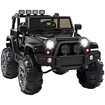 HONEY JOY Kids Ride On Truck 12V Battery Operated Off-Road Vehicle with 2 Motors & Double Magnetic Doors Spring Suspension MP3 Remote Control Kids Ride On SUV Toy Car for Baby Boy Girl  Black
