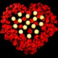 Set of 24 LED Candles Battery Flameless Flickering Tealight Candle and 2200 Piece Silk Rose Petals, Artificial Fake Rose Petals for Romantic Night, Party, Table, Dining Room, Wedding Flower Decor