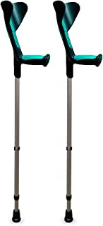ORTONYX Forearm Crutches 1 Pair - Ergonomic Handle with Comfy Grip - High Density Sturdy Aluminum - 308lb Max / 200917
