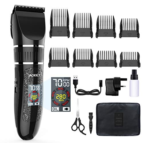 Professionelle Haarschneidemaschine Schnurlose Haarschneidemaschine, LCD-Farbdisplay, Bart- und Körperhaarschneider für Herren und Familien, Titan- und Keramikklingen, Wiederaufladbar