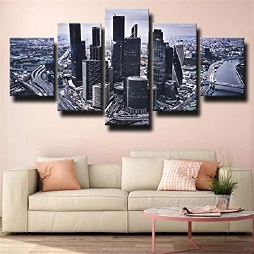 ERSHA 5 Piezas Lienzo Poster Cuadros Modernos Impresión De Imagen Artística Digitalizada Ciudad De Moscú Ciudad Crepuscular