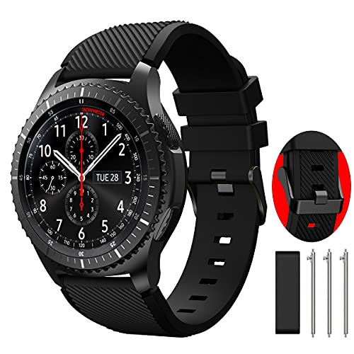 TOOLAIK 22mm watch Band Compatible for Samsung Galaxy Watch 3 45mm/Galaxy Watch 46mm Bands/Gear S3 Frontier/Classic, 22mm Soft Silicone Smart Watch Band Casual Strap for Women Men.