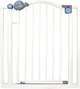 Child Safety Door Fence Cartoon Fish Protection Door Fence pet Dog Isolation Fence  Stair Fence  Degree Automatic Closing Safety Barrier  Color Gray