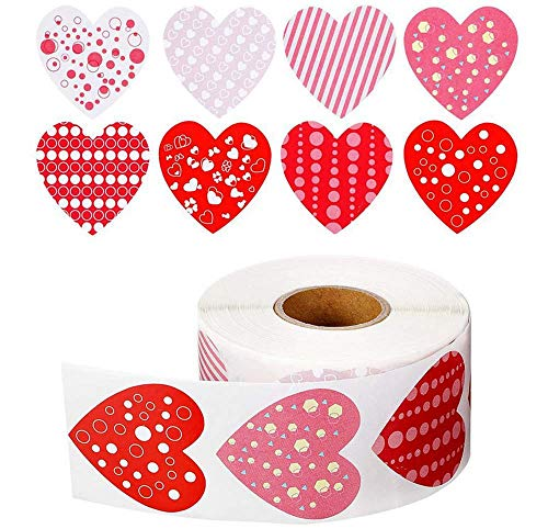 500 pcs Funky Heart roll Stickers, Valentine's Day Colorful Heart Shaped Stickers Valentine's Love Decorative Stickers Heart Labels for Wedding Party