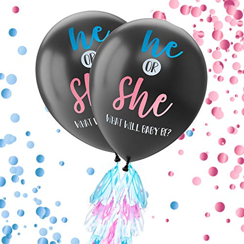 Gender Reveal Balloon Kit – 2Pack Giant XL Confetti Balloons with 24 Tassels and String – Gender Reveal Party Supplies 36Inch Diameter Balloons