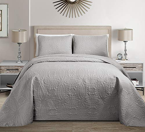 Fancy Collection 3pc King/California King Embossed Oversized Coverlet Bedspread Set Solid Silver New