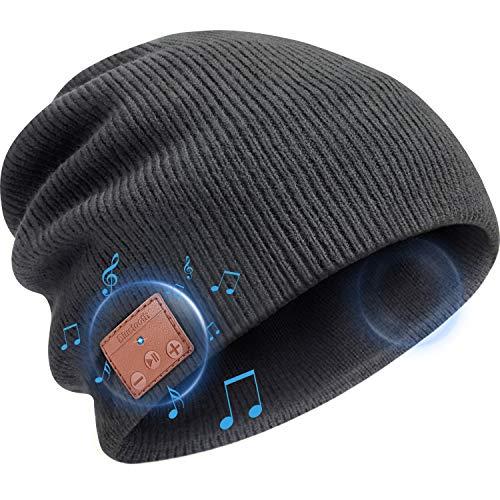 Gorro de Punto de Bluetooth Auriculares Gorra de Música Inalámbrica V 5.0 de Unisex Gorra Bluetooth Altavoces Estéreo HD Incorporados Regalo de Invierno Navidad para Deportes Hombres Mujeres (Gris)