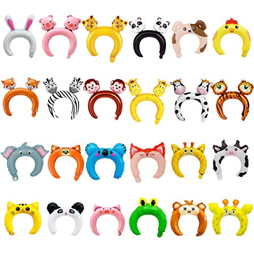 24 Pack Inflatable Animals Headband Zoo/Safari Animal Headband Animals Balloons Hat for Jungle Theme Birthday Party Favors Children's Day Kids Bulk Inflatable Prizes Goodie Bag Filler Headband