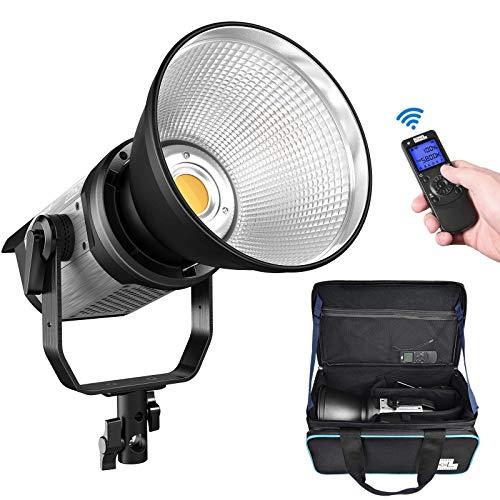 LED Videolicht, Pixel 220W 5600K Tageslicht COB LED Video Leuchte, mit Adapter, Fernbedienung und Tragetasche Video Light für YouTube Studio Video Porträt Fotografie Beleuchtung