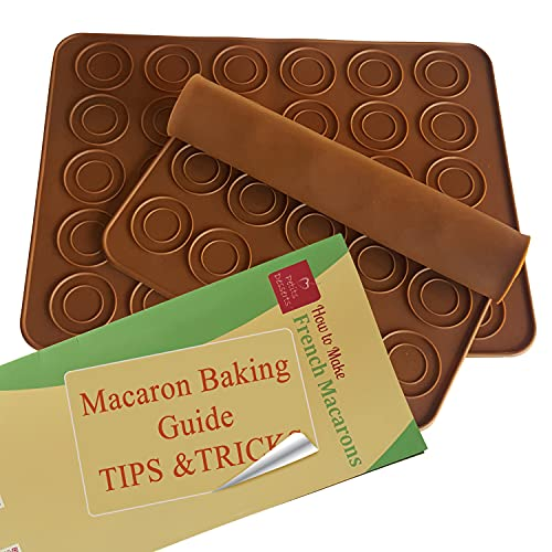 Macaron Mat TAILORED FOR STARTERS | Macaron Silicone Baking Mats Set of 2 | HALF & QUARTER SHEET Non Stick Macaron Baking Mat | Macaroon Baking Mat | Macroons Baking Sheets | Template Circles Reusable